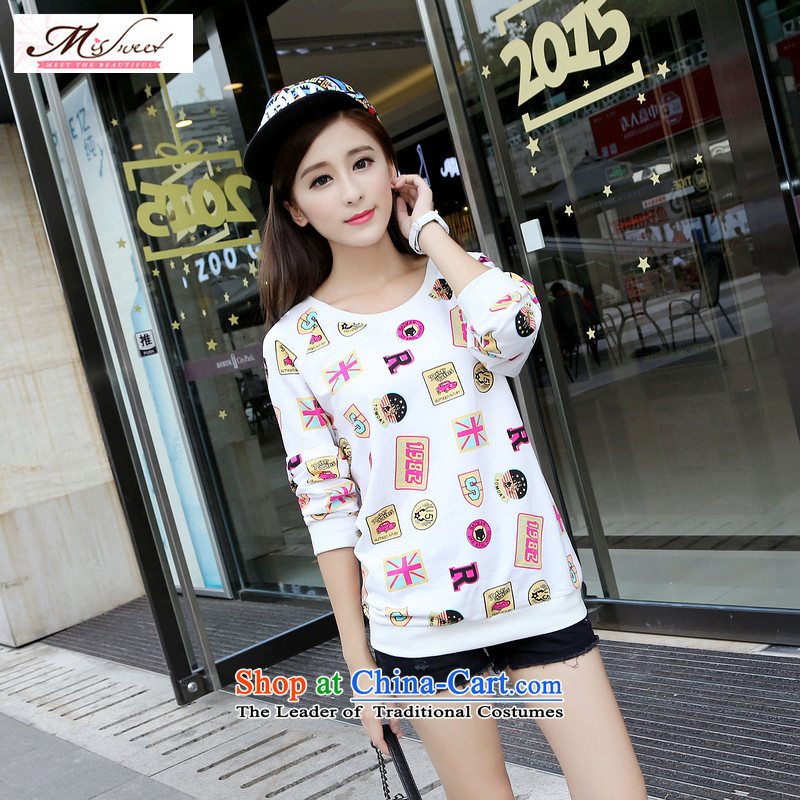 The litany of m large forming the Netherlands female 2015 autumn and winter new Korean loose to increase long-sleeved T-shirt with round collar stamp graphics thin White燲XL 2 ft 8 7_2 gauge