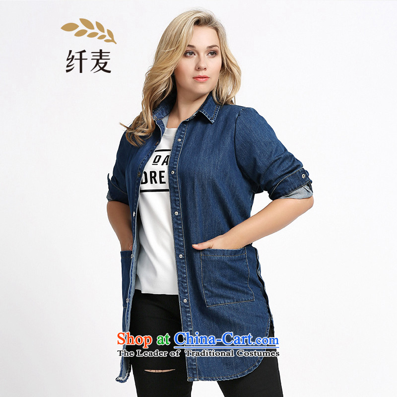 The former Yugoslavia Migdal Code women 2015 Autumn replacing new stylish mm thick letter stamp cowboy jacket�3041547燿ark blue燲L