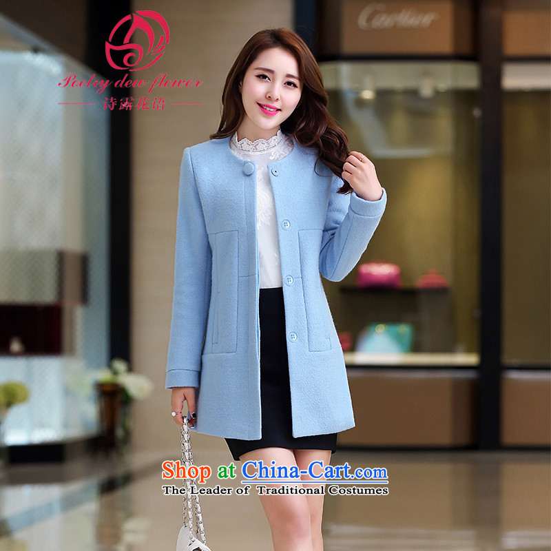 Gross coats female jacket won? Edition long poem terrace flowers larger female body in thin graphics decorated long wool Connie a wool coat Ms. female and T-shirt water Blue燤