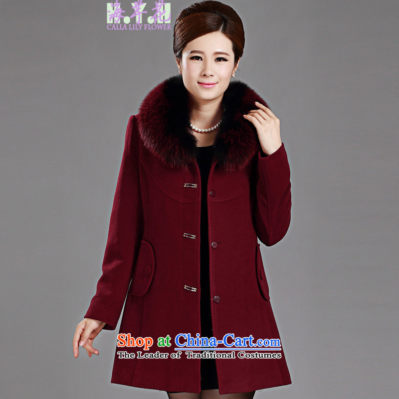 The sea route to spend the new fox collar cashmere overcoat Gross Gross Large? butted long female J1376H 3XL wine red
