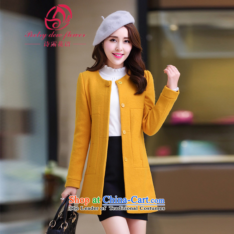 Maximum number of ladies fall/winter collections to intensify the poem terrace flowers on her sister in thin long graphics Sau San fleece a wool coat thick mm yellow jacketXXXXL Connie Sub
