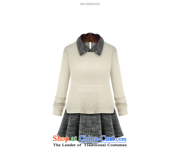 Gangnam-gu 2015 autumn and winter taste new larger female to intensify the skirt wear long-sleeved shirt MM thick stitching leave two Knitted Shirt blackXXL recommendations 120-140 catty picture, prices, brand platters! The elections are supplied in the national character of distribution, so action, buy now enjoy more preferential! As soon as possible.