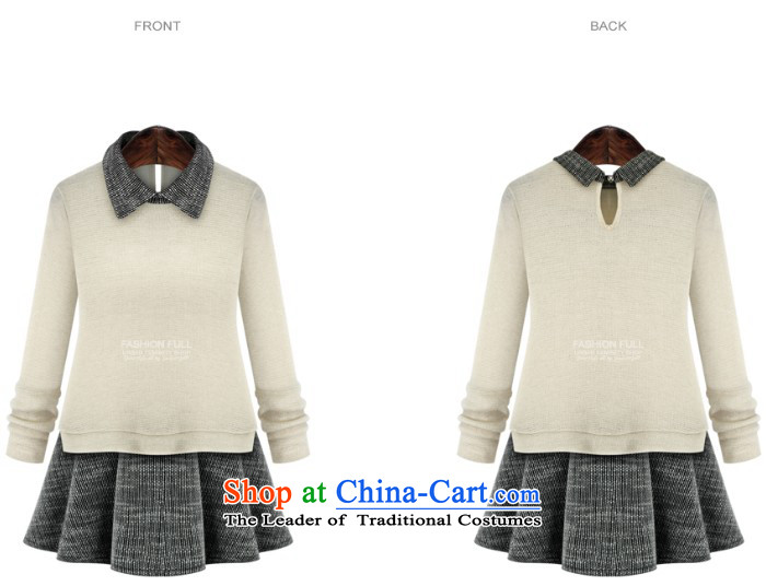 Gangnam-gu  2015 autumn and winter taste new larger female to intensify the skirt wear long-sleeved shirt MM thick stitching leave two Knitted Shirt black XXL recommendations 120-140 catty picture, prices, brand platters! The elections are supplied in the national character of distribution, so action, buy now enjoy more preferential! As soon as possible.