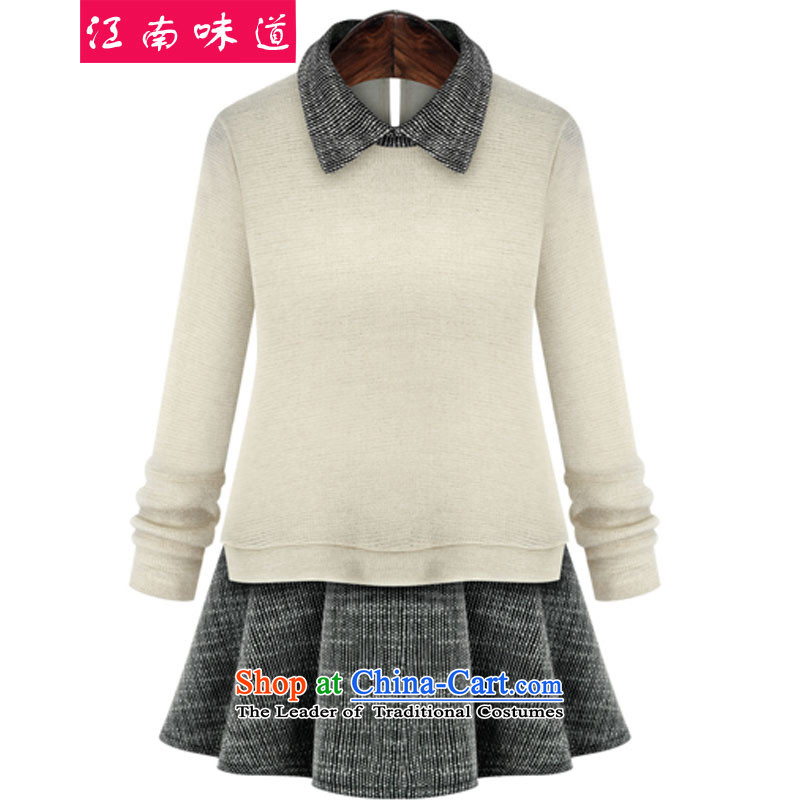 Gangnam-gu 2015 autumn and winter taste new larger female to intensify the skirt wear long-sleeved shirt MM thick stitching leave two Knitted Shirt blackXXL recommendations 120-140, Gangnam taste shopping on the Internet has been pressed.