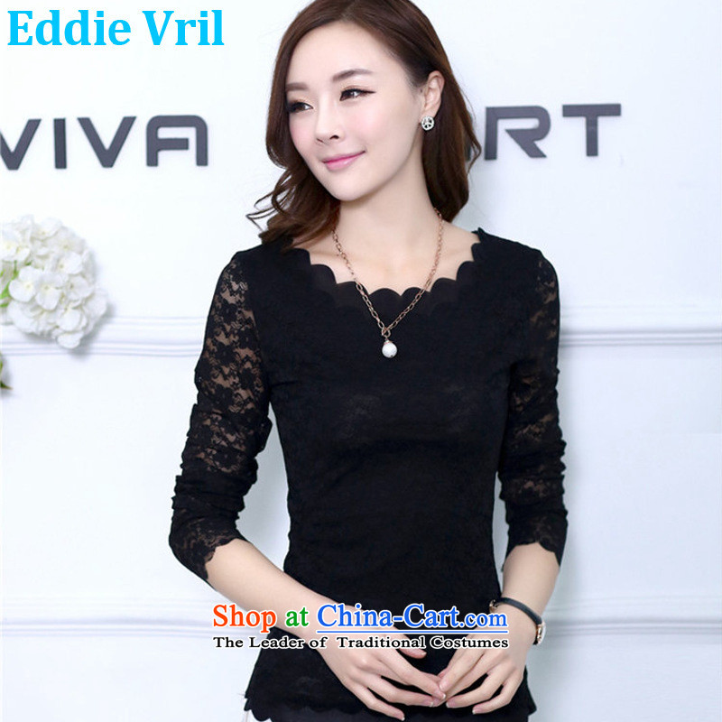 The new Korean eddievril larger female thick mm200 catty Sau San long-sleeved T-shirt lace female thick solid thin shirt graphics sister large black XXL(135-165 catties)