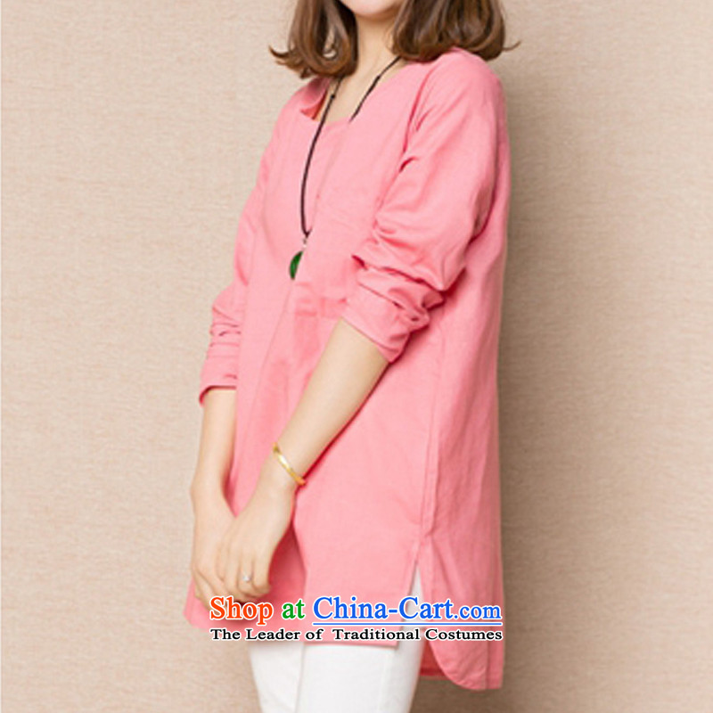 Create the聽 2015 autumn billion new boxed version of large numbers of female Korean graphics thin wild shirt cotton linen loose T-Shirts_blouses聽XXXL pink shirt