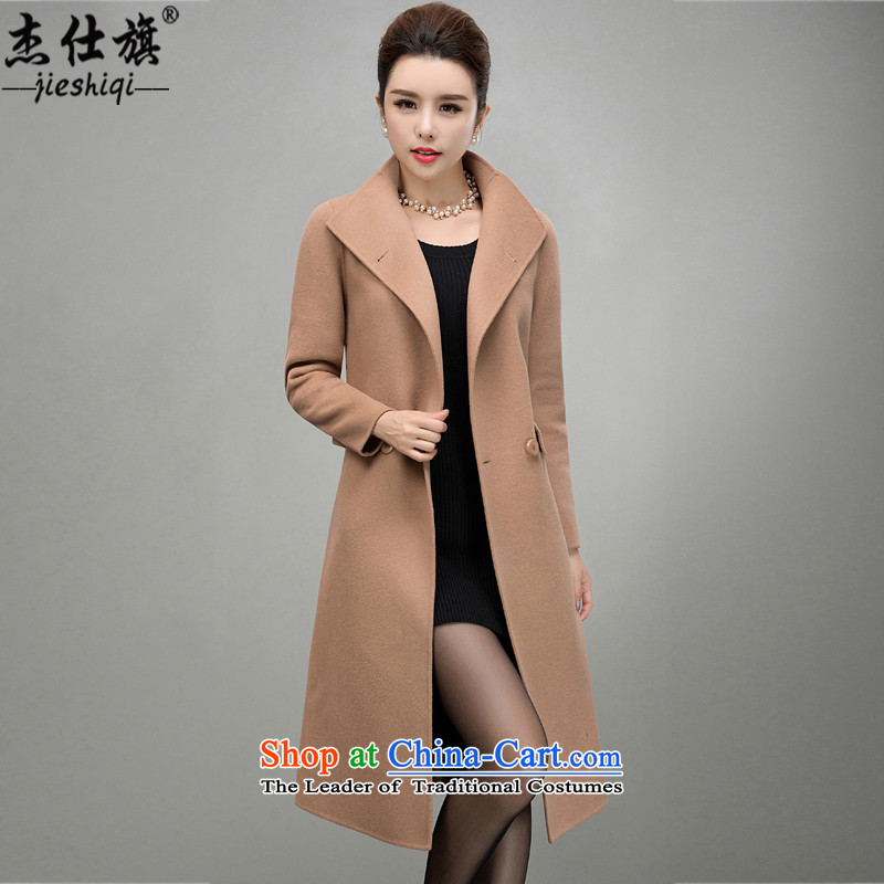 James flag 2015 autumn and winter new women's double-sided cashmere overcoat female plain manual Korean long hair so Sau San Jacket coat and color XXL