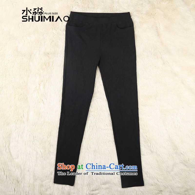 The representative of the water fall 2015 new) thick sister xl high elastic waist trousers with floral pants S15QDW5435 female black XXL