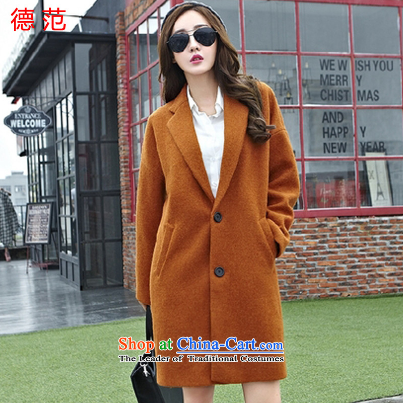 Van de� 2015 Fall_Winter Collections fashion thick lapel solid color jacket female Korean gross? Edition long a wool coat female new and Color燤
