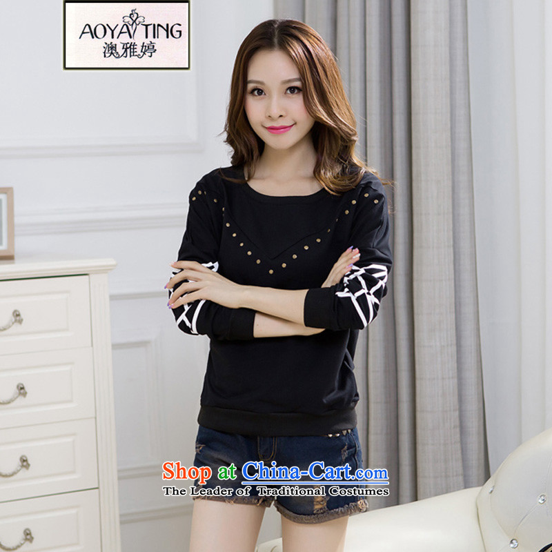 O Ya-ting larger female Korean autumn 2015 installed new women's graphics thin stamp long-sleeved T-shirt with round collar forming the Netherlands YK4229 female black�L�5-180 recommends that you Jin