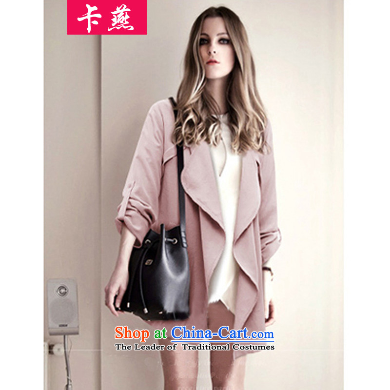 2015 Yan to card xl women 200 catties thick MM mount loose video thin autumn long-sleeved jacket small short of thick sister windbreaker 321 pink 4XL