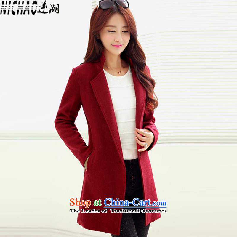 The gross imbalance? 2015 winter coats female new Korean long thin graphics Sau San, a wool coat female wine red M