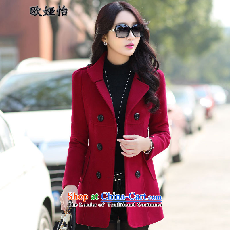 The OSCE Julia Selina Chow autumn and winter 2015 new coats Korean gross?   in the thin long graphics sub-coats_? female 8856 wine red燤