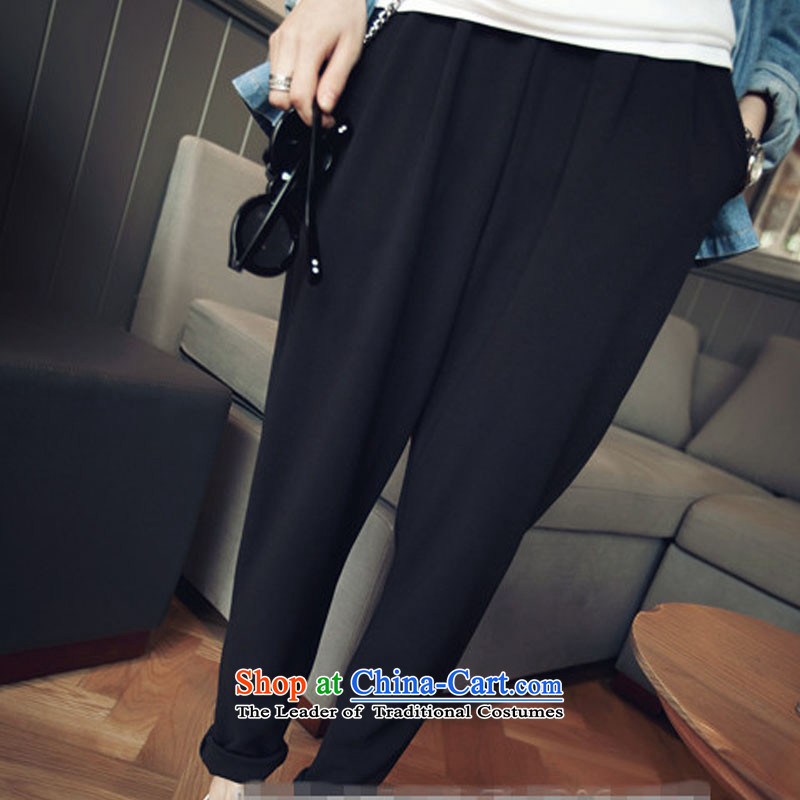 Create the  2015 autumn billion new Korean version of large numbers of female pants thick mm loose video thin wild chiffon Harun XXXL black trousers
