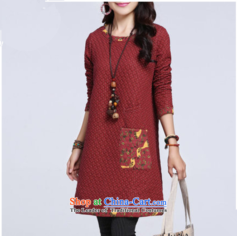 Mrs Ingrid Yeung is 2015 autumn and winter large women's dresses wave point in thick cotton plus long-sleeved long skirt red聽XXL