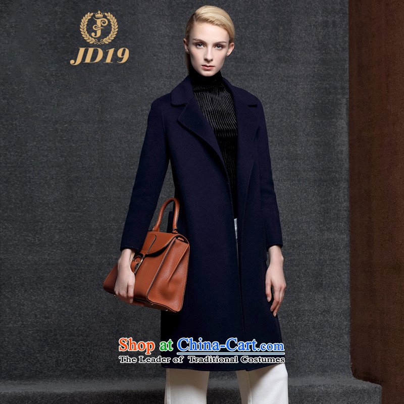 Double-side cashmere overcoat JD19 female long 2015 autumn and winter coats new wool? female model_, Lap windbreaker. long coats of Sau San Navy?M