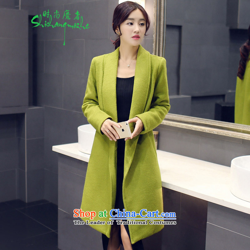 Stylish devil of the 2015 Fall_Winter Collections in the new long a wool coat Korean Sau San video thin stylish Wild Green Jacket聽M136聽GREEN聽M