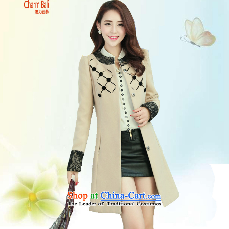 Charm and Asia 2015 Fall_Winter Collections Korean Sau San stylish round-neck collar lace long jacket coat gross? beige?XXL