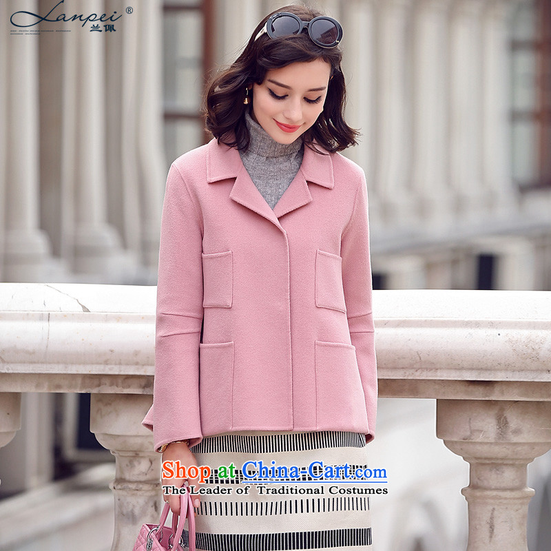 In the autumn of 2015, the new Pei candy colored coat gross shortage of female jacket?-sided flannel woolen coat and pinkM