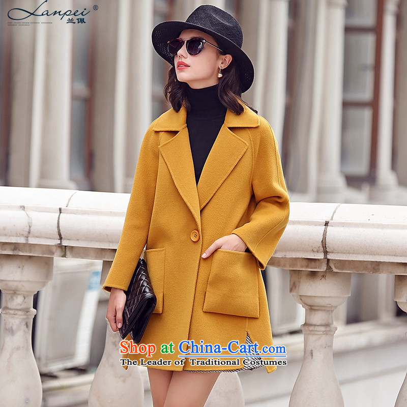 In theautumn of 2015, the new Pei gross female Korean jacket? in long-sided cashmere overcoat cocoon female woolen coat light yellow 7-day pre-saleM