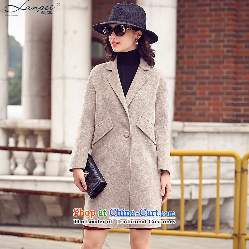 In the autumn of 2015, the new Pei Western-style suit washable wool-sided flannel woolen coat in long-jacket m Gray M