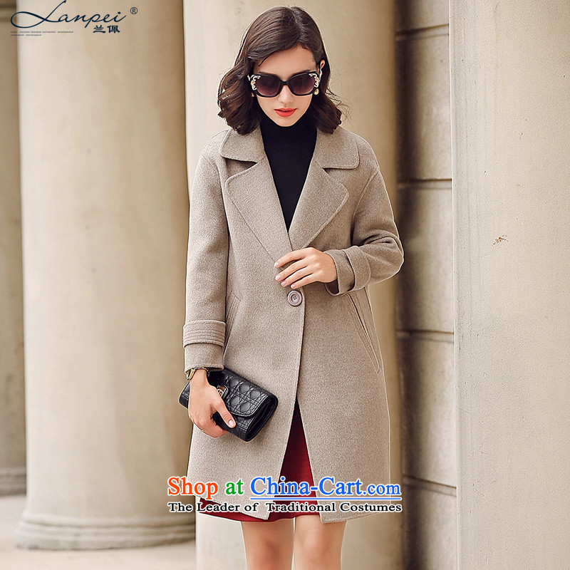 Ho Pui 2015 autumn and winter new women's gross? for long suit coats of double-sided cashmere overcoat female woolen coat m gray 5-day pre-sale L