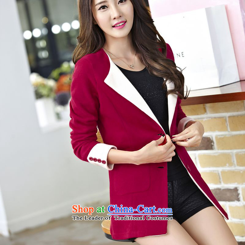 The Doi plus hypertrophy code women MM2015 thick new thick sister Sau San knitting cardigan in long jacket BOURDEAUX燲L_ Ms. recommendations 120-135 catties_