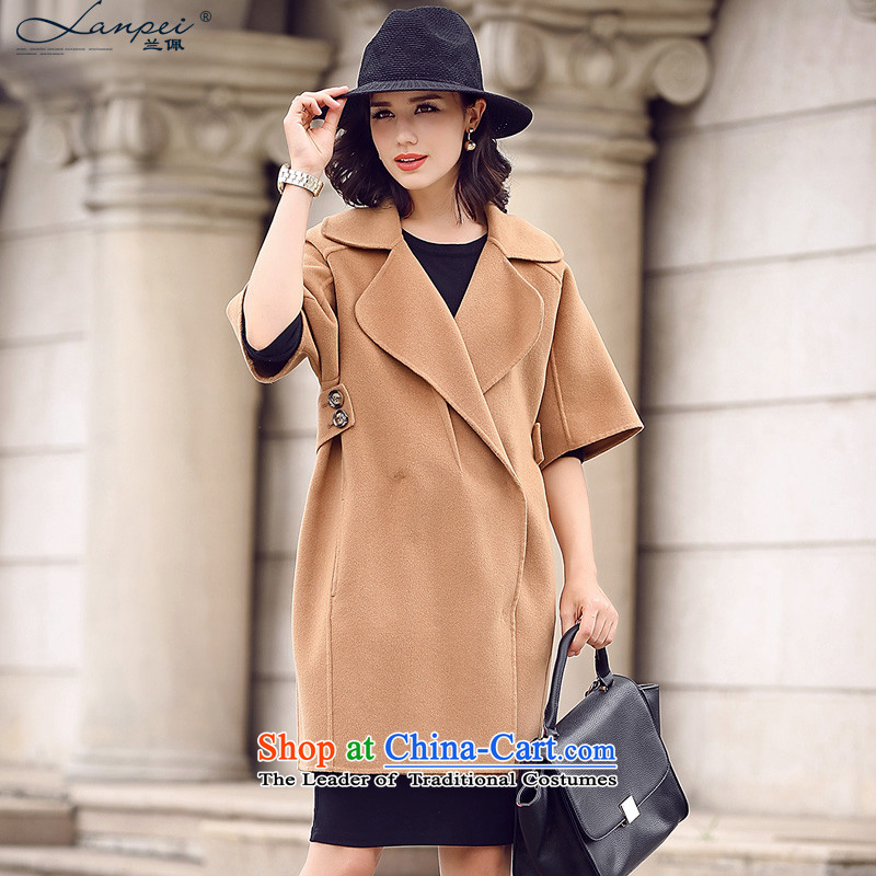 In the autumn of 2015, the new Pei won version-sided flannel woolen coat girl in long wool coat and color?M