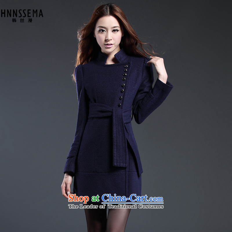 The Korean population spread燽y 2015 autumn and winter new Korean Sau San with belt gross? coats that long a jacket temperament female HSM9006 navy燲XL