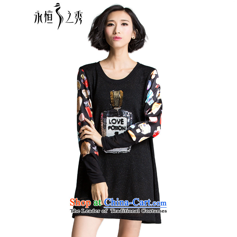 The Eternal Soo-XL women's dresses 2015 mm thick sister autumn new Korean fashion, stamp thick to intensify the graphics are thin, dresses long-sleeved black�L