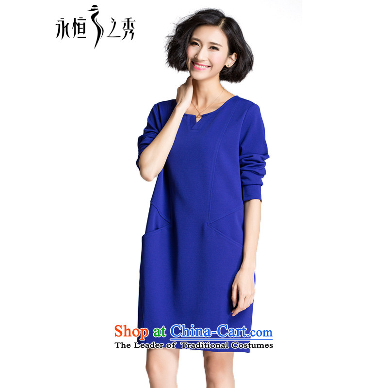 The Eternal Sau 2015 large female thick mm autumn new products attractive V-Neck trendy and comfortable long-sleeved dresses dark blue�L