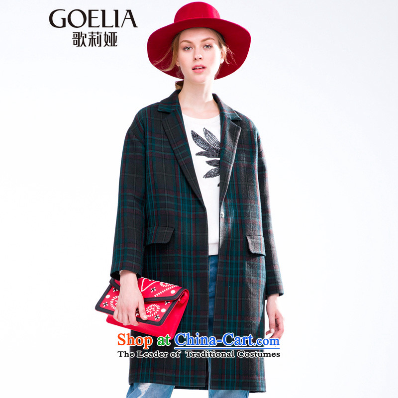 Song Leah GOELIA autumn 2015 new material_? long jacket  159E6EA00 Blue Green Grid S A38