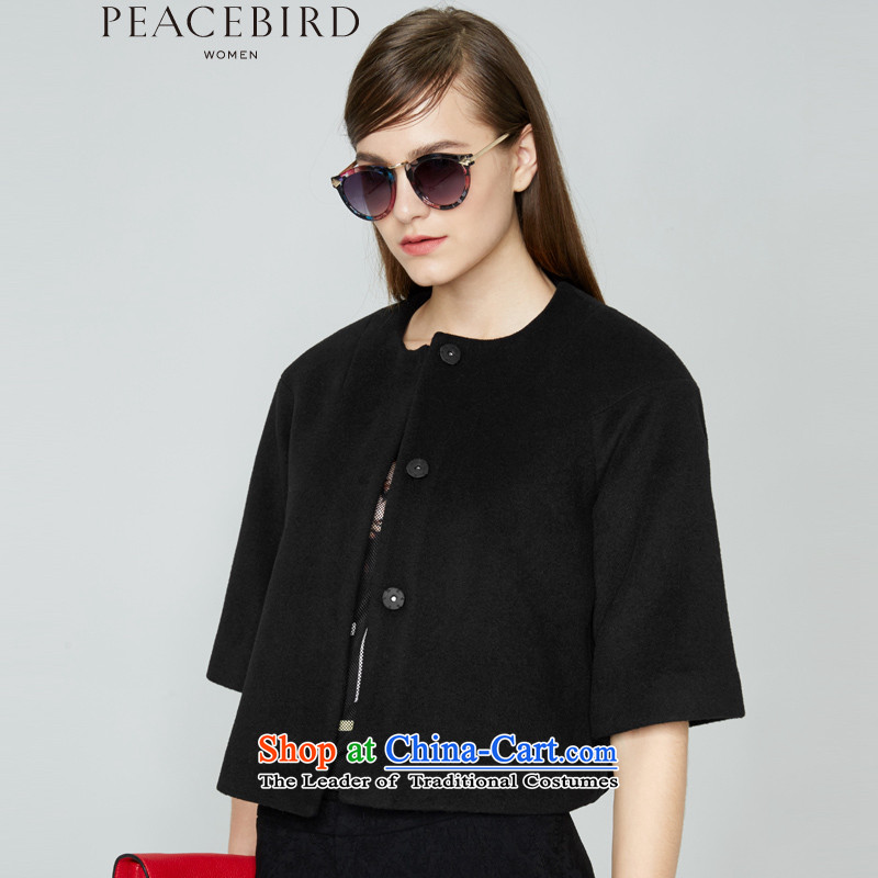- New shining peacebird Women's Health 2015 winter clothing new product type A short coats A4AA54102 black燬
