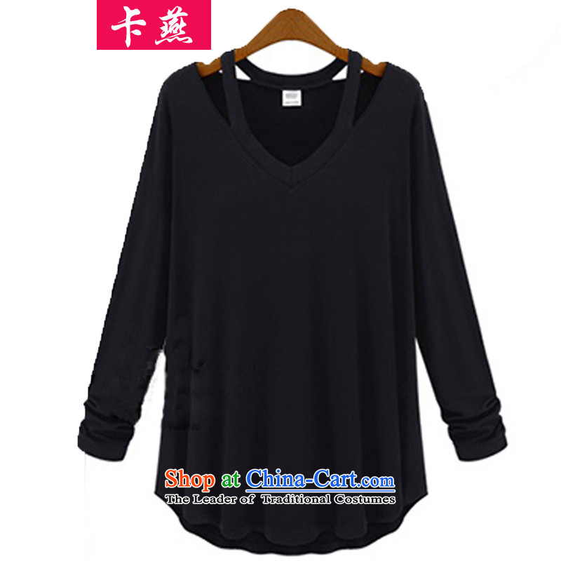 Card Plus hypertrophy code Yin female thick mm 2015 Fall/Winter Collections thick sister new autumn boxed long-sleeved T-shirt, forming the catty cashmere sweater 200 642 Black 5XL