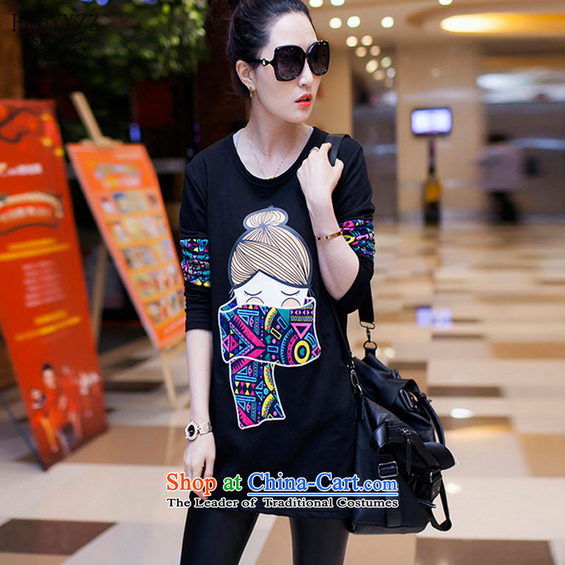Van Gogh is the Fall 2015 new Korean female large graphics, forming the thin clothes in ethnic long long-sleeved T-shirt female black T-shirt XXL Paras. 135-145