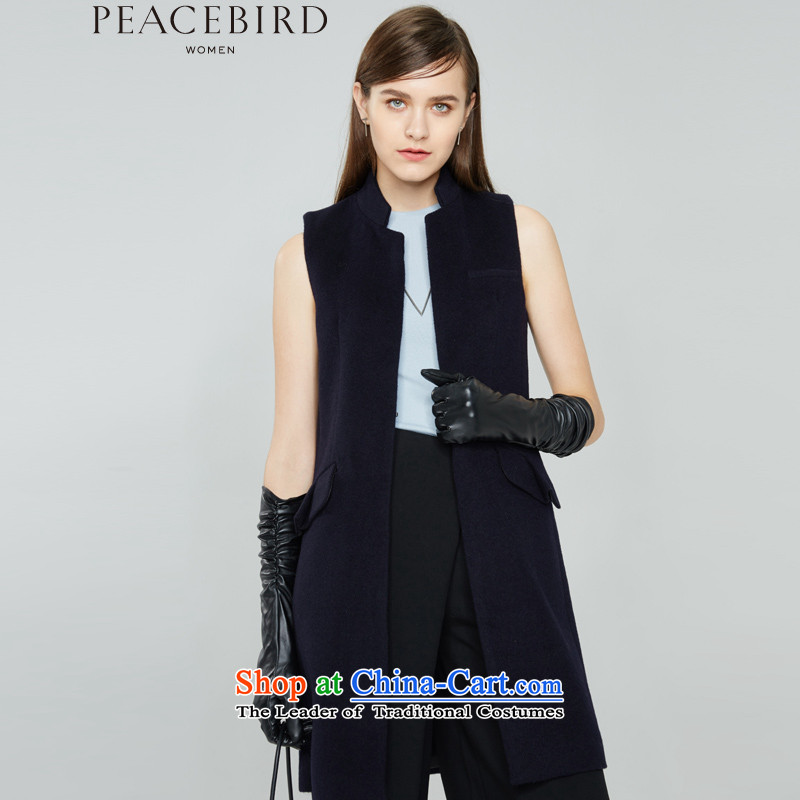 - New shining peacebird Women's Health 2015 winter clothing new products, a cloak A4AA54106 navy blue燤
