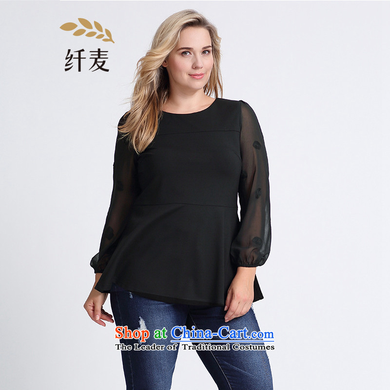 The former Yugoslavia Migdal Code women 2015 Autumn replacing the new mm thick and stylish embroidered spell checker T-shirt聽953365471 receive waist聽聽5XL black