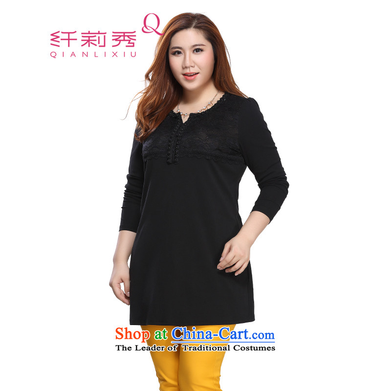 The former Yugoslavia Li Sau 2015 autumn large new mount female sexy round V-neck collar flower lace rose Stretch video and slender black�L 0131 UT T-Shirt