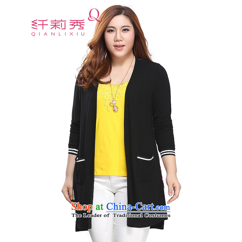 The former Yugoslavia Li Sau 2015 autumn large new mount female Korean Version Stamp loose wild stretch cardigan long jacket, black?3XL 86-10
