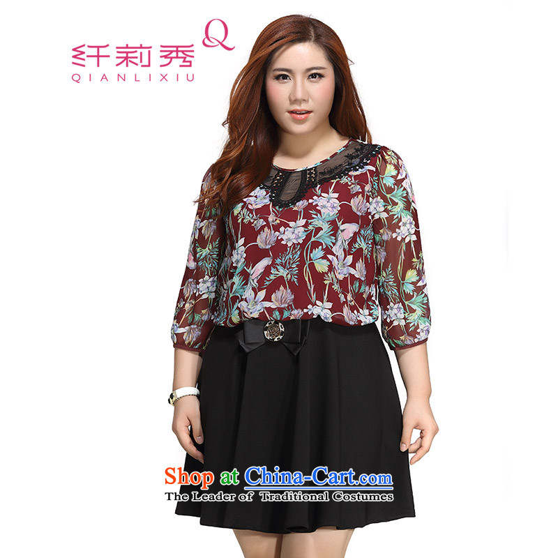 The former Yugoslavia Li Sau 2015 autumn large new mount female engraving round-neck collar stamp comfortable fake two video thin 0132 skirt cinnabar?3XL red