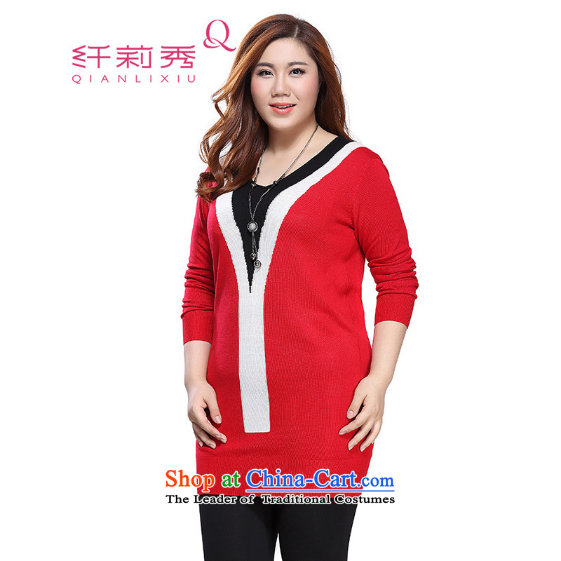 The former Yugoslavia Li Sau 2015 autumn large new mount female V-Neck knocked color graphics thin H type to Increase Wool Textile dresses 0893 Red4XL