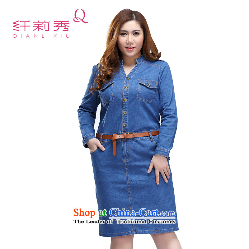 The former Yugoslavia Li Sau 2015 autumn large new mount female entertainer, V-Neck long-sleeved denim dress _feed belts_ 0172�L Denim blue
