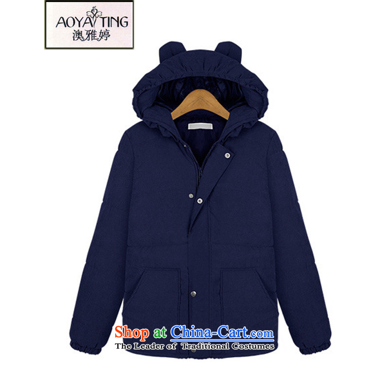 O Ya-ting to increase women's code 2015 autumn and winter new Korean cotton coat thick mm thick, thin graphics with cap cotton jacket B602 Blue 3XL 145-165 recommends that you Jin