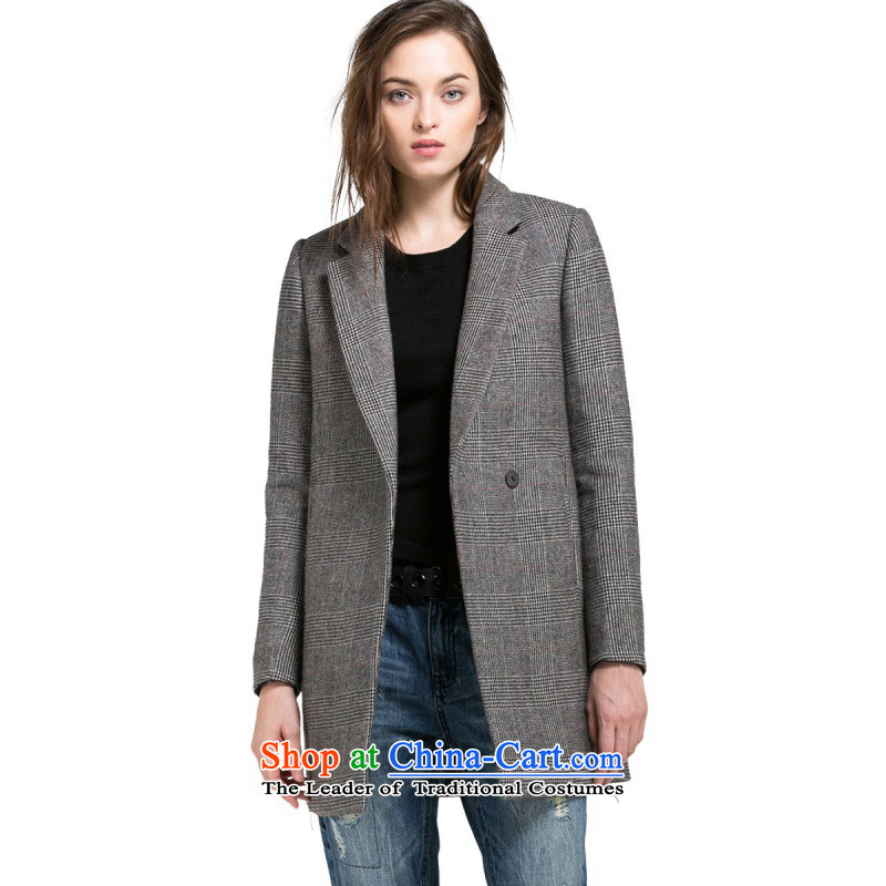 Load New autumn ONLY2015 included wool plaid zipper decor. As long coats female L|11534s023? 104 light gray�5_76A_XS flower