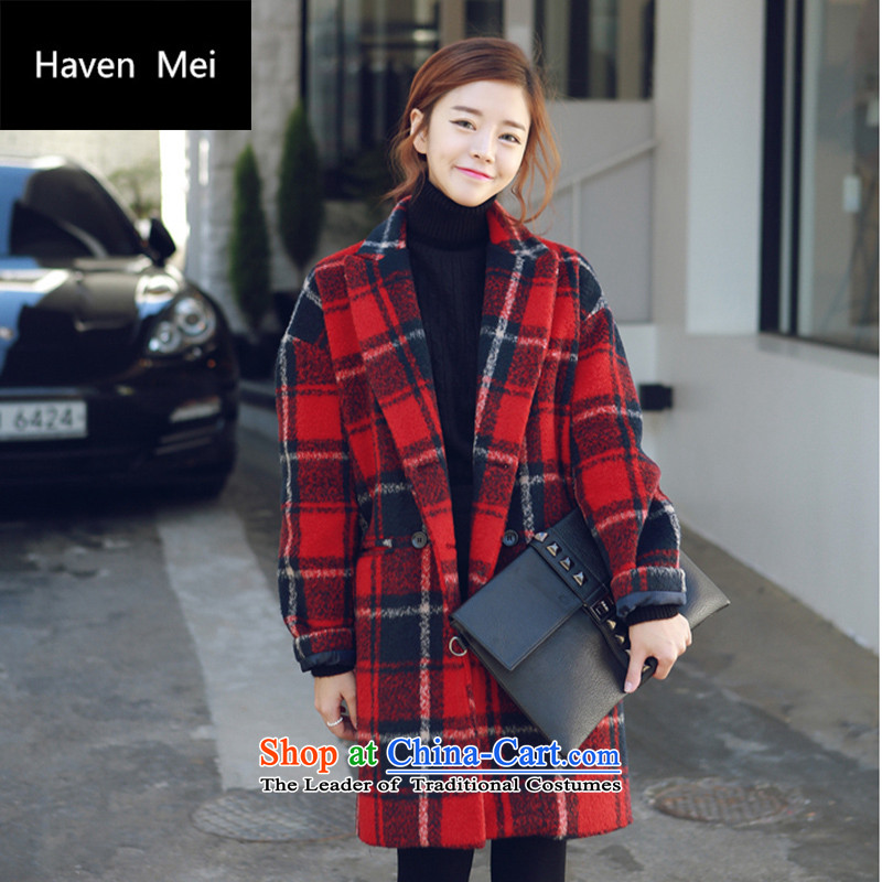 Havenmei2015 autumn and winter new Korean small fresh Korean female grid clip cotton thick hair? overcoat G009 red checkeredM