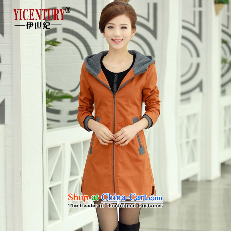 El-century to increase women's code load spring and autumn 2015 New Fat MM larger windbreaker. long thin coat N8397_ graphics燲XXXL orange