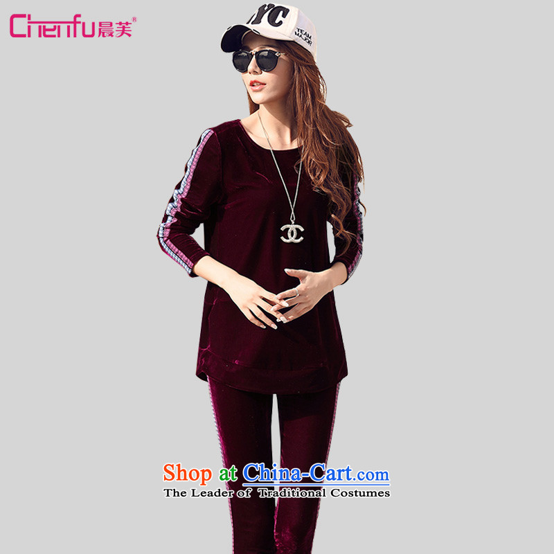 Morning to 2015 autumn and winter new Korean version of Fat MM leisure velvet kit for larger female loose video thin sweater pants and two extra piece wine red�L燫ECOMMENDATIONS 150 - 160131 catty