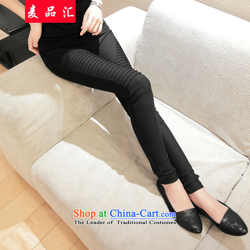 Mr Hui thick mm2015 products fall_winter collections for larger female Korean thick Top Loin of forming the sister trousers large elastic pin skinny graphics trousers 5106 Black 3XL recommendations 160-200 catty