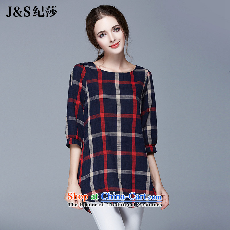 The new 2015 Elizabeth discipline large European and American women fall in with cotton linen cuff to xl T-shirt thick mm loose plaid girl jacket聽SN1051聽picture color聽3XL