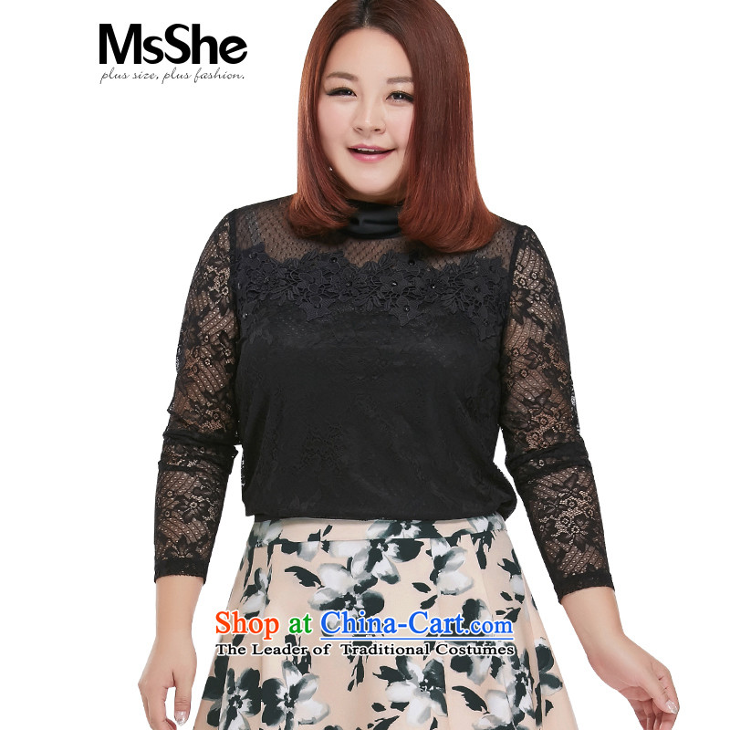 New Load autumn msshe2015 high collar embroidery lace, forming the basis for larger shirt female thick?black?5XL 10375 MM T-Shirt